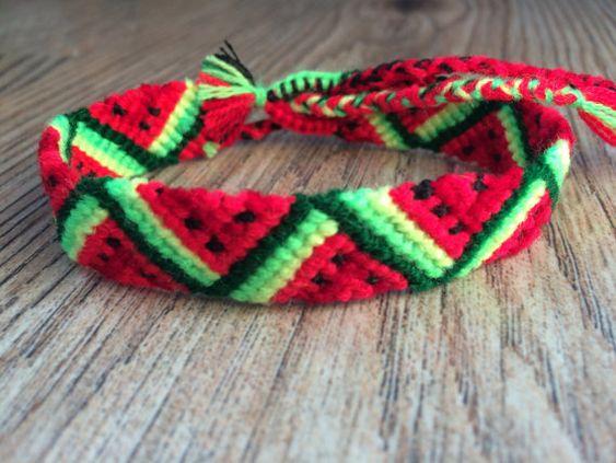 Friendship Bracelet.Handwoven.Friendship jewelry.Love.Handmade.Wrap Woven Knotted Braided bracelet.Best friend present.Fruit.Neon.Watermelon
