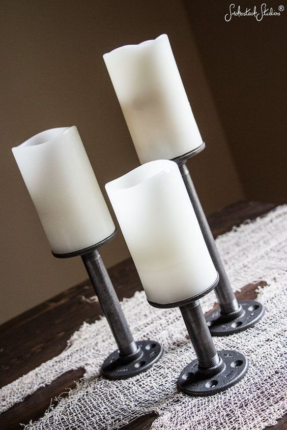 Hey, I found this really awesome Etsy listing at https://www.etsy.com/listing/205814109/pipe-candle-holders-set-of-3-industrial