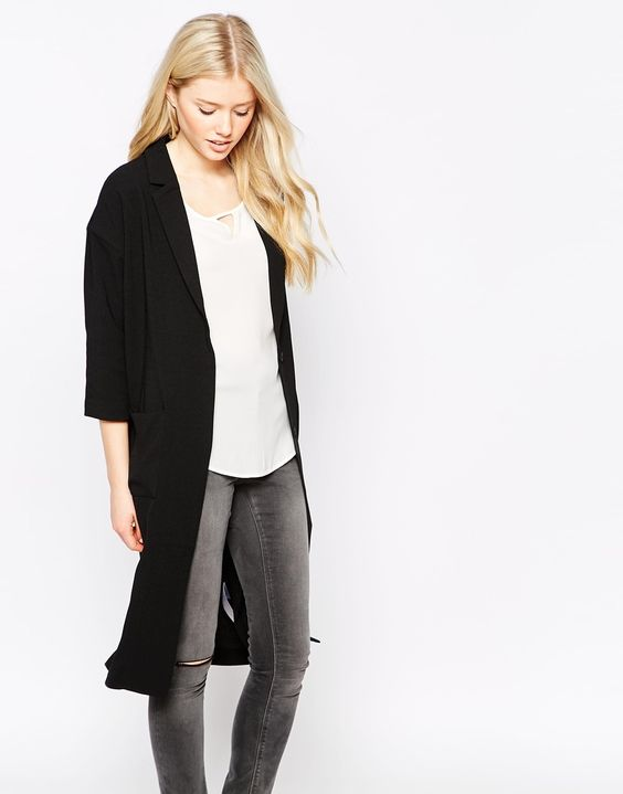 Vila 3/4 Sleeve Long Line Blazer