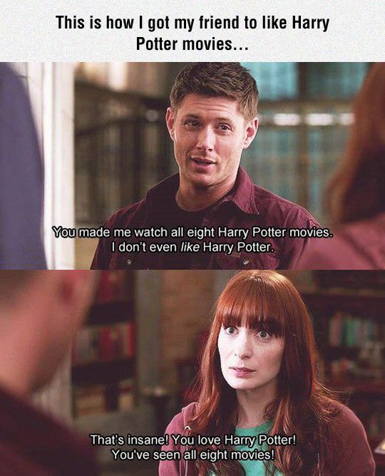 The quote is from parks and rec but seems like it would fit in a scene in supernatural