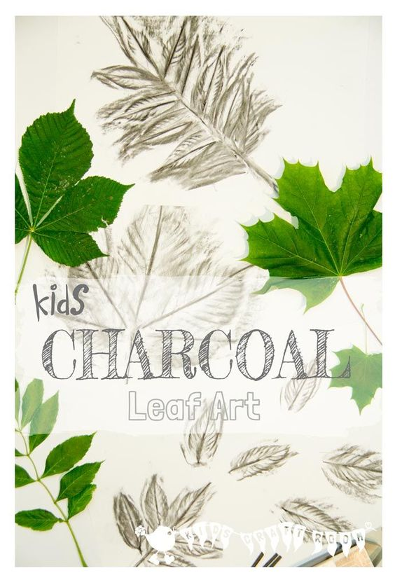 CHARCOAL LEAF ART for kids. Charcoal is a super medium for kids to use to explore the shape, texture and patterns of leaves.:
