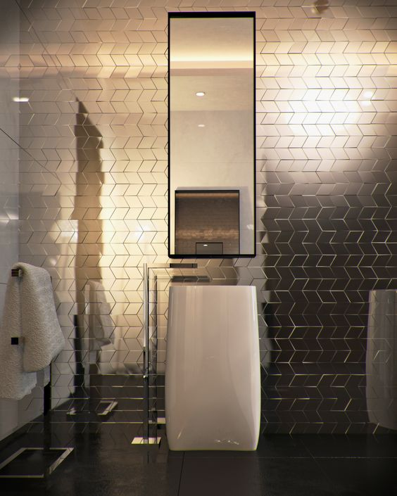 Those #tiles in this #bathroom really are eye catching! It really draws the audience in. www.remodelworks.com: