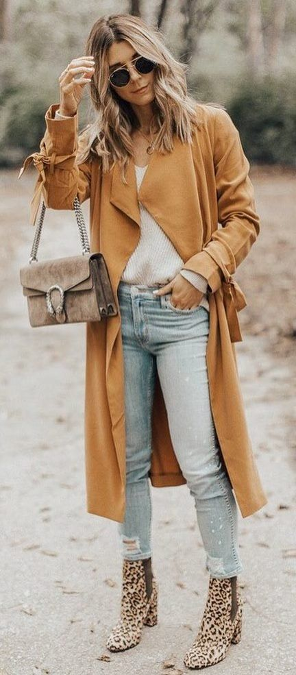 fall outfit of the day _ coat + bag + white sweater + rips + boots