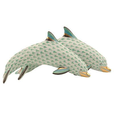 Herend Hand Painted Porcelain Figurine Pair of Dolphins  Green Fishnet Gold Accents.
