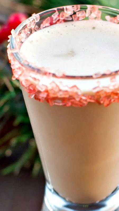Mini Chocolate Candy Cane ~ Godiva Chocolate Liqueur, peppermint schnapps, candy cane sugar (optional)
