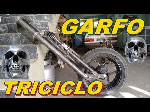 Mestre Do Metal Frente Triciclo Garfo Youtube Custom Trikes Chopper Frames Trike Motorcycle