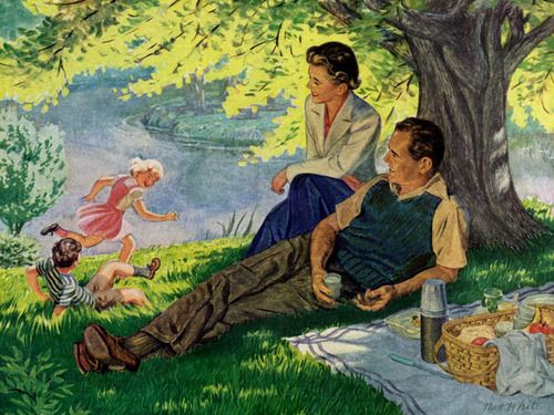 ✿Family Day✿ Family Picnic ~ Nat White, 1950: