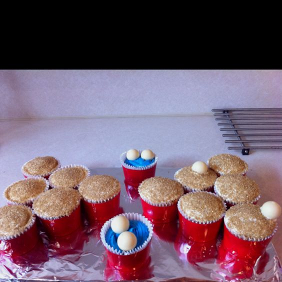 Beer pong cupcakes! Made by yours truly.