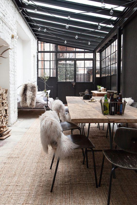 visite deco industriel cosy salle à manger véranda guinguette bois