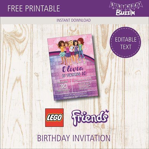 Free Printable Lego Friends Birthday Party Invitations Birthday Buzzin Lego Friends Birthday Lego Friends Birthday Party Lego Friends Party
