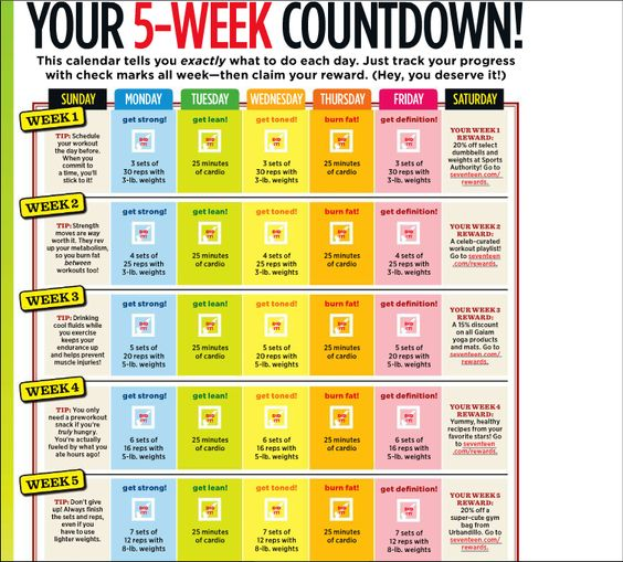 Weekly Calendar Counter : Best workout plan things to do before spring summer