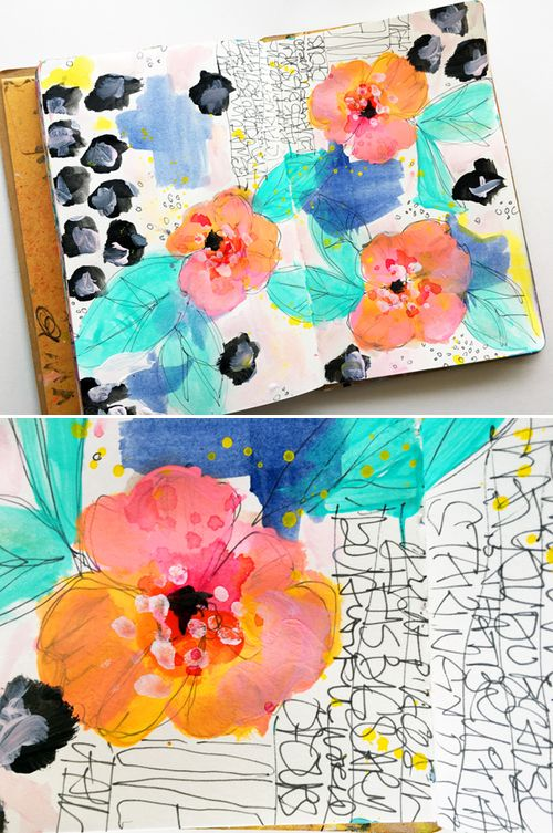 15 Minutes of Mixed Media with Rae Missigman - art journal page and video