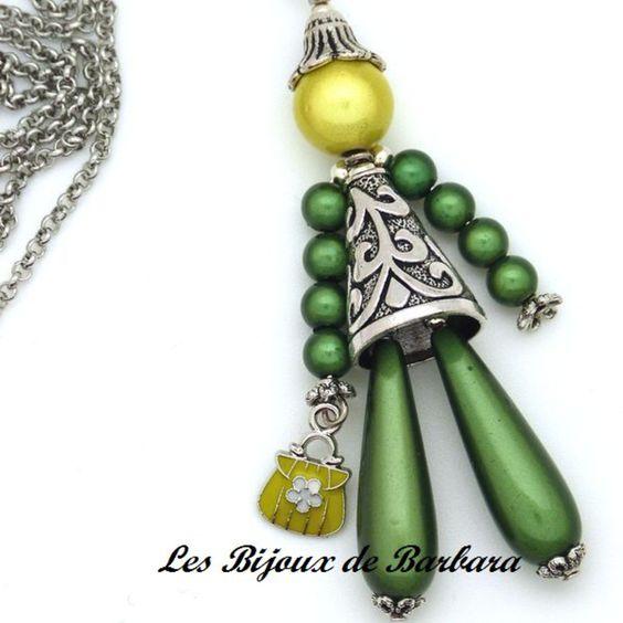 PZ2101-Poupée verte - sautoir et collier matinée - LE COIN DES CREATIFS - Fait Maison