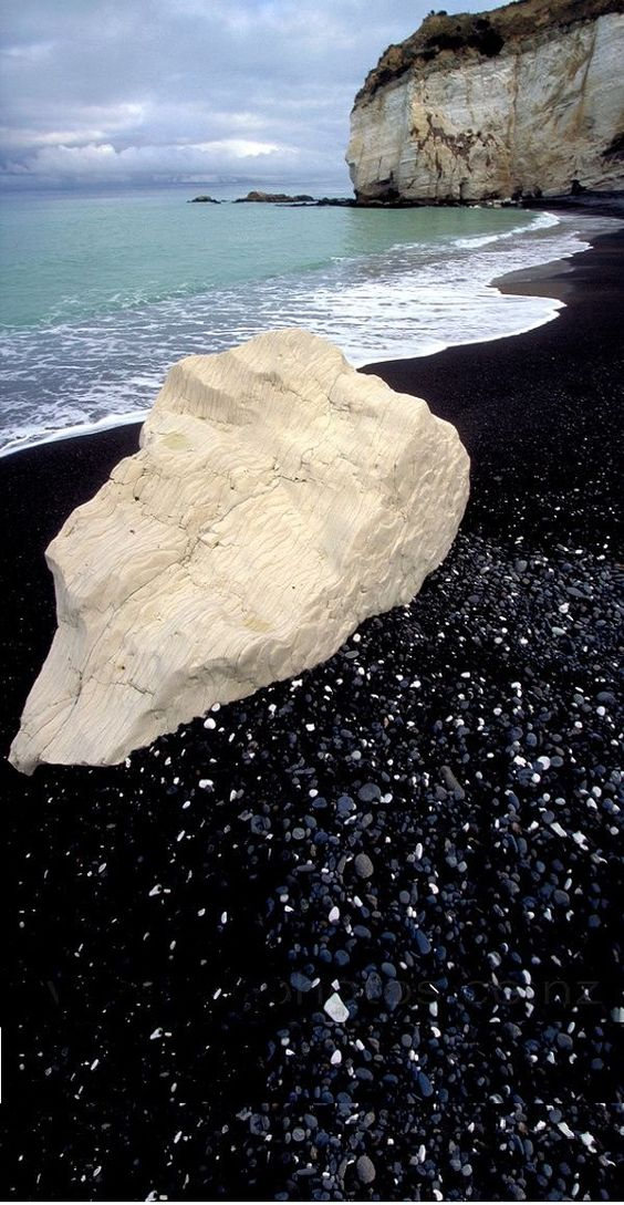 Black sand beach in North Canterbury ~ New Zealand