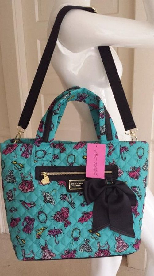 Betsey Johnson BETSEY'S FASHIONS Tote BM18625 TURQUOISE, Quilted Nylon, strap #BetseyJohnson #TotesShoppers