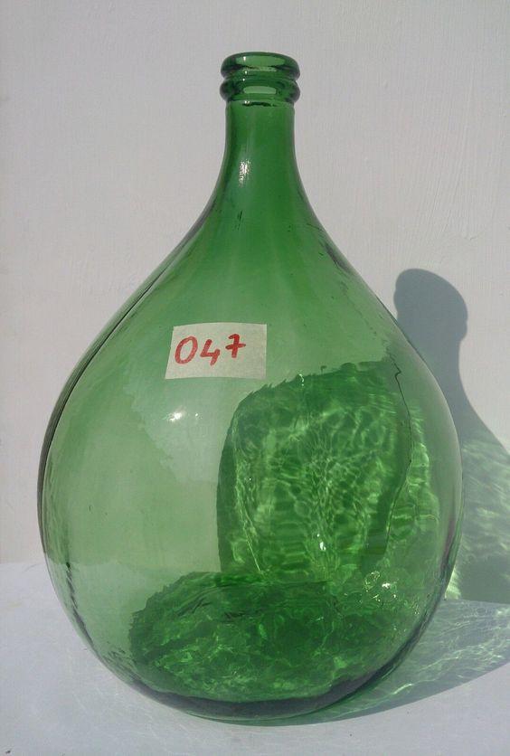 Antique Italian Demijohn Emerald Glass Wine Making Huge Green Carboy | eBay