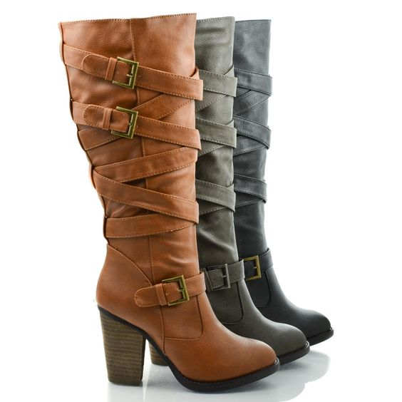 Get strappy and reach new heights with these mid calf booties, featuring an almond toe, contrast stitching, a criss cross strappy look with three adjustable buckles, a side zipper for easy wear and cl