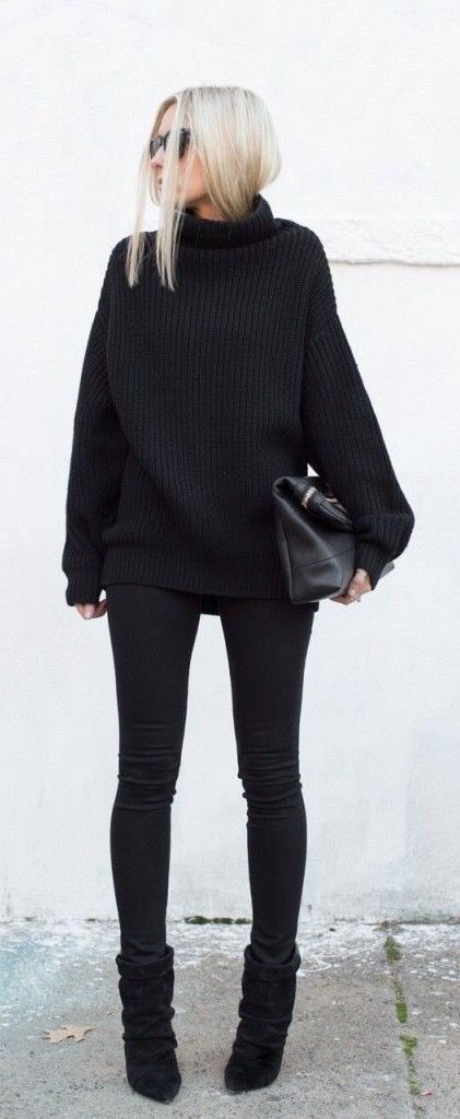 #streetstyle all black skinny jeans  sweater                                                                                                                                                     More
