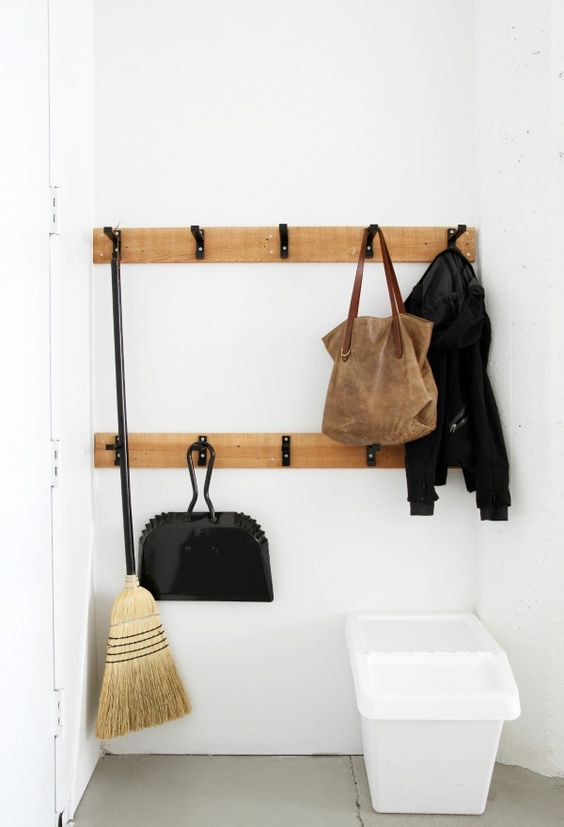 Bjarnum Hooks - spray painted black and mounted to raw wood. Small Storage & Organization in the Studio