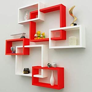 Onlineshoppee Intersecting Mdf Wall Shelves Set Of 6 Red White