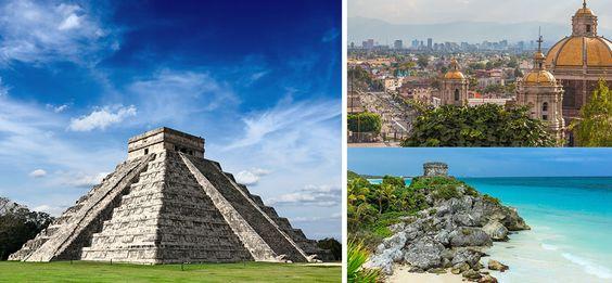 História do México. Templos, praias.