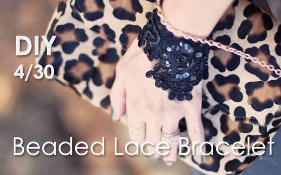 DIY Beaded Lace Bracelet Cuffs
