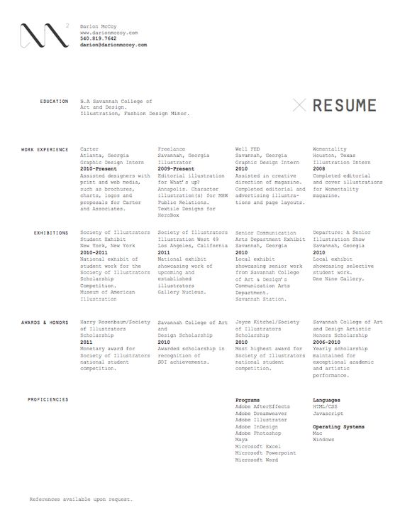 CV PARADE, a site with amazing examples of resume design CV - production artist resume