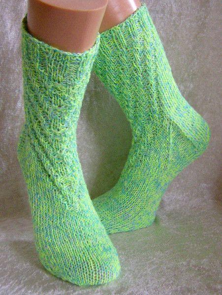 """Socken - Handgestrickte Socken 38/39 """"Neongrün"""" + Elastan - ein Designerstück…"""