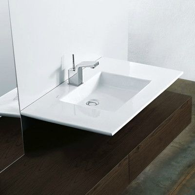 WS Bath Collections Techno Ceramic Wall Mounted Vessel Bathroom Sink