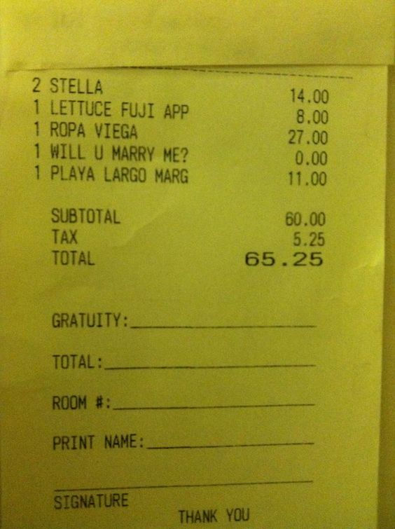Will You Marry Me Make Her Pay The Check Sneaky  Proposal