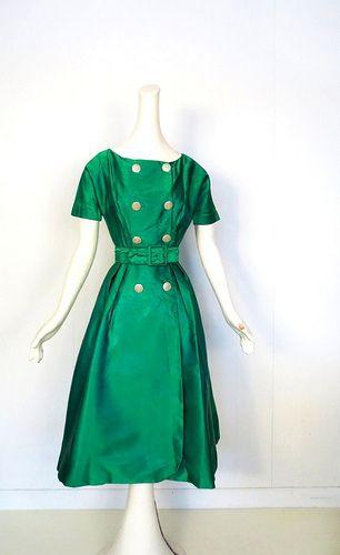 1950s emerald green satin dress