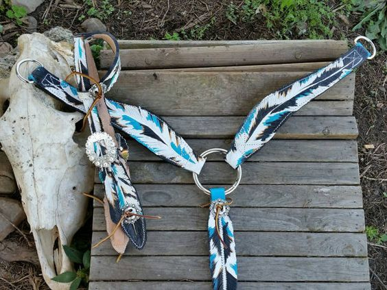 Turquoise Eagle Three Feather Headstall & Breast by JazzyTack loooove!!!