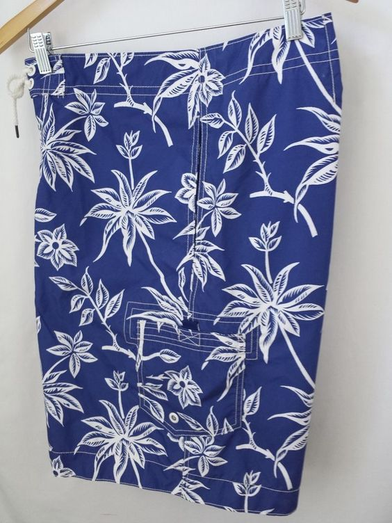 Ralph Lauren Board Shorts Size 2XL Swim Trunk Blue Hawaiian Floral Mens #PoloRalphLauren #BoardShorts