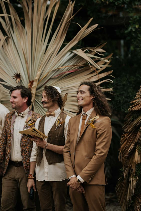 Boho Groom Style and Outfit Ideas | Leather tie, feather boutineer, tan shirt and brown suit | Page and Holmes Wedding Photography | Vancouver Wedding Photographer