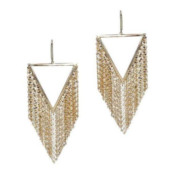 Lana Triangle Fringe Earrings (£2,155) ❤ liked on Polyvore featuring jewelry, earrings, triangle jewelry, earrings jewelry, fringe earrings, triangular earrings and fringe jewelry