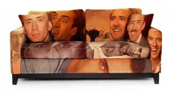 Nicholas Cage couch.....? Probs the creepiest thing i have ever seen in my life.