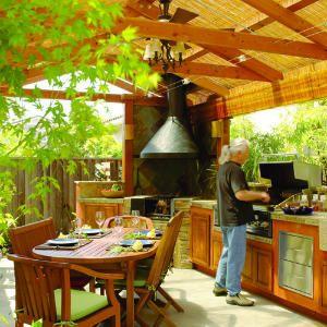 Warm backyard kitchen