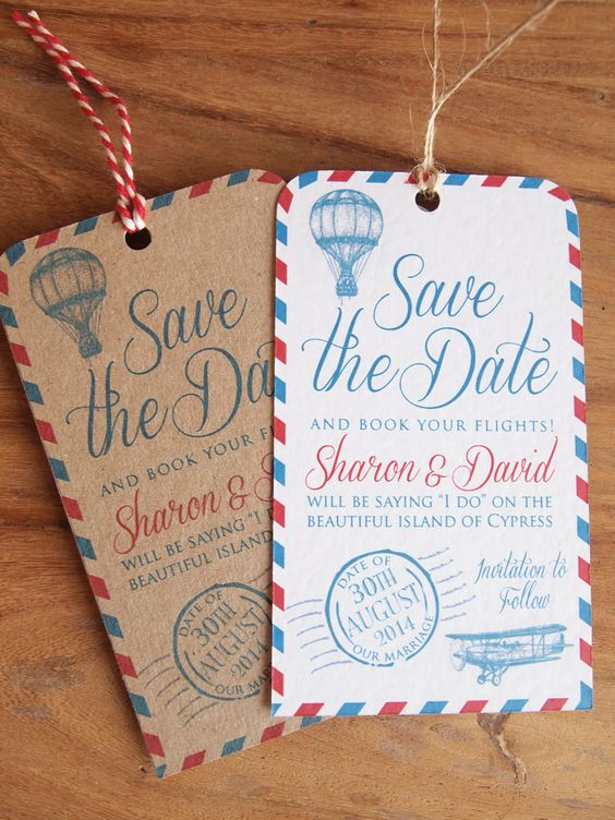 Luggage Label Save the Dates / Wedding Abroad Save the Date Our Vintage Airmail Luggage Label Save the Date Cards are perfect for letting your guests know they need to book time off and book flights to your wedding abroad! Each Save the Date Luggage Label is printed either on Ivory textured card or Brown Eco Card, finished with string or ribbon of your choice, supplied with a C6 Envelope. We can incorporate any of our designs into Save the Date Cards / Luggage Labels.