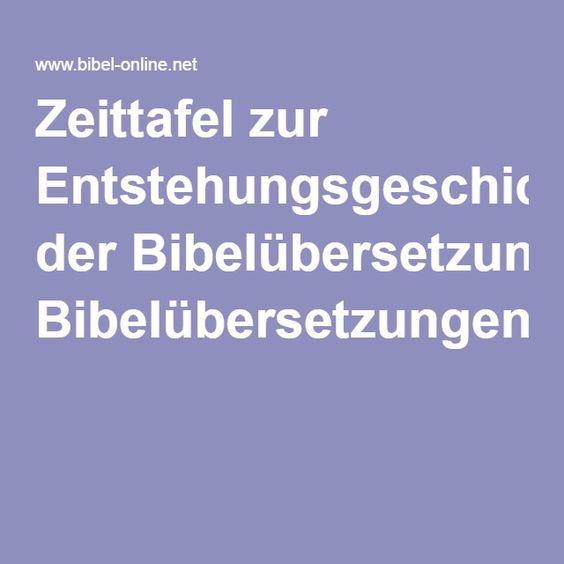 Zeittafel zur Entstehungsgeschichte der Bibelübersetzungen