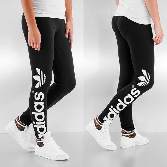 Adidas Hose / Legging Trefoil in schwarz