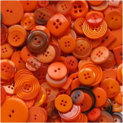 "*ORANGE ~ Buttons. Make me think of my Grandma Bunnie. She would play, ""button, button, whose got the button"" with us kids and we loved it.:"
