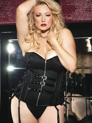 Stretch Twill and Patent Leather Corset 	 This sinfully delicious Stretch Twill and Patent Leather Corset is sure to send some shivers dow...