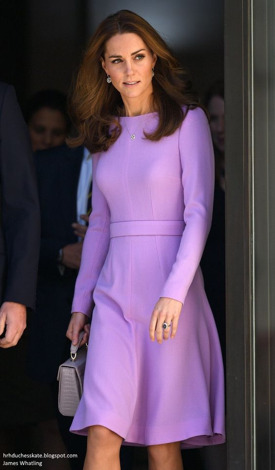 Catherine, The Duchess of Cambridge.. Emilia Wickstead 'Kate' dress, Aspinal of London Midi Mayfair Bag in lilac, suede Gianvito Rossi praline pumps, with Mappin & Webb Empress necklace and earrings.. #DuchessofCambridge #KateMiddleton #KateEffect #DukeAndDuchessofCambridge