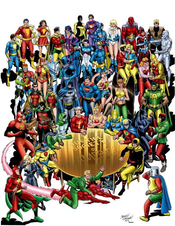 incredibly beautiful group photo of the full extended Justice Society and Infinity, Inc. family by the great Jerry Ordway