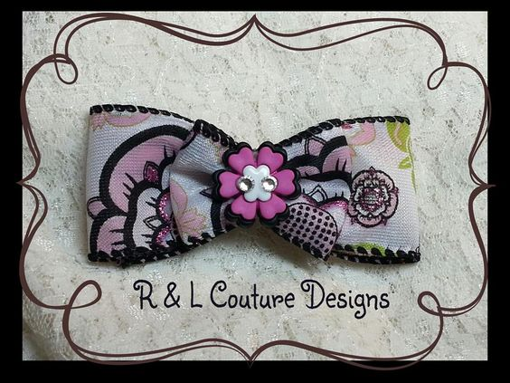 """Bold Flower""  OOAK  3 inch Multi Fabric Ribbon  Flower Center Piece with Crystals  Your choice of French Barrette or Alligator Clip  Retail $10.00  Free Shipping in US / Others TBD  PayPal Only"