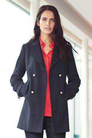 Next Navy Pea Coat - Coat Nj