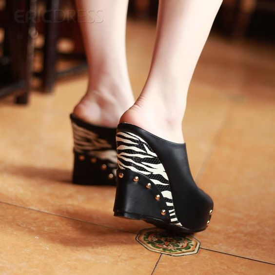 Impressive Black Peep Toe Sandals Wedge Sandals
