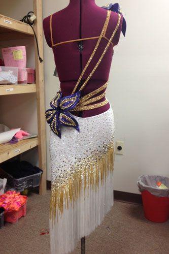 White JORDY Designer Latin Rhythm dress for sale  -spray peacock feathers like that flower.
