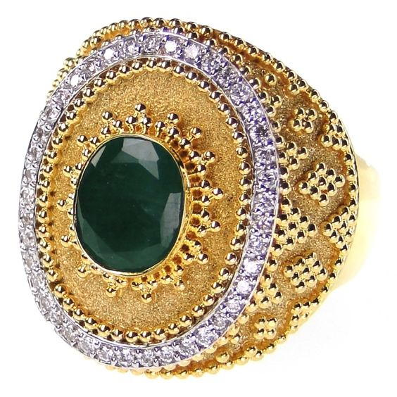 Damaskos Diamond framed Emerald Maxilari Ring - Athena's Treasures