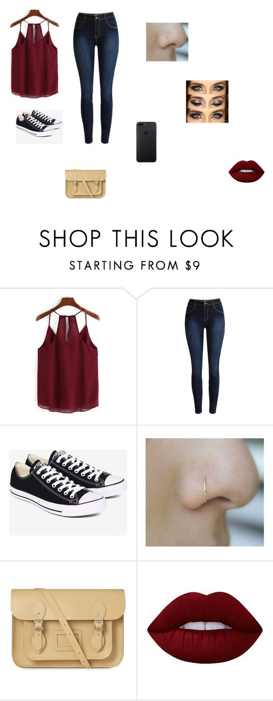 """Untitled #19"" by shortiiiee on Polyvore featuring Converse, The Cambridge Satchel Company and Lime Crime"